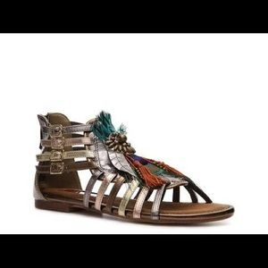 Two Lips Bronze Pharoah Peacock Strappy Sandals